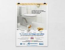 'Tu inodoro no traga con ellos'. Campaña de concienciación.