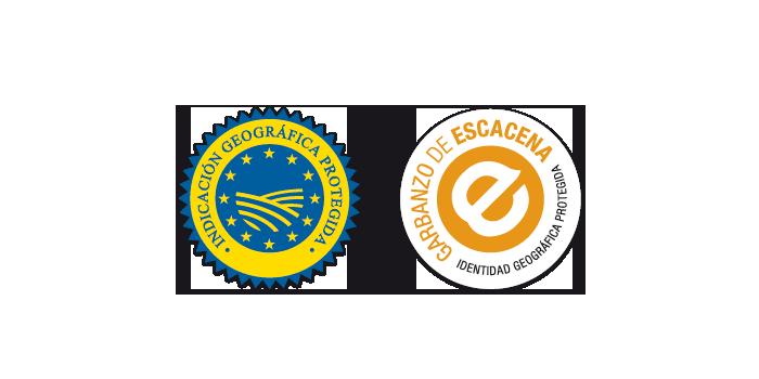 Sello de la IGP Escacena junto al distintivo que concede la UE